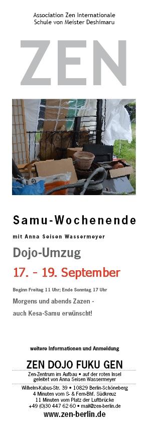 Veranstaltungsplakat Samu-Wochenende und Dojo-Umzug vom 17.-19. September 2021