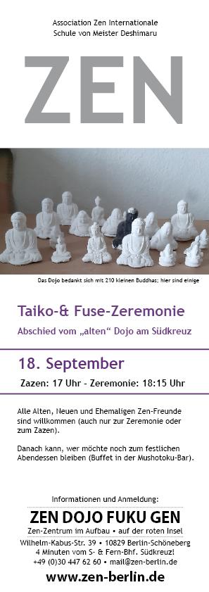 Veranstaltungsplakat Taiko- und Fuse-Zeremonie am 18. September 2021